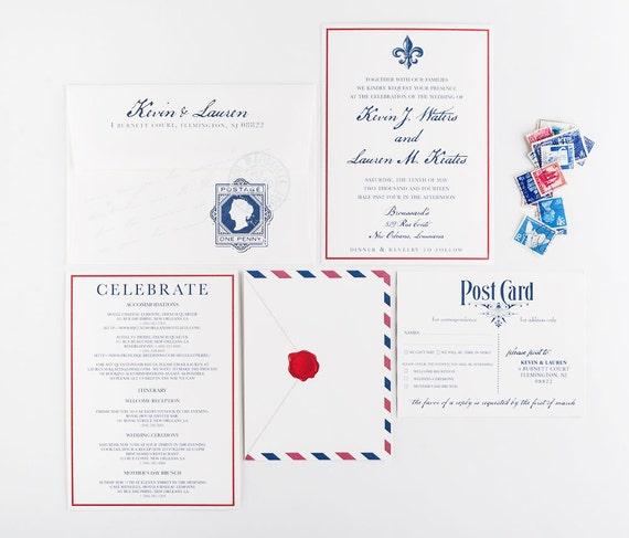 Airmail Wedding Invitations: Airmail Travel Wedding Invitation Transcontinental Wedding