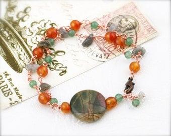 Positive and contentment bracelet -  carnelian, aventurine, labradorite and picasso jasper