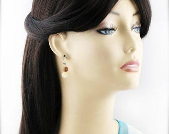 Pastel nature earrings - wood jasper and topaz