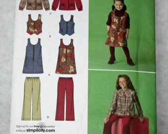 Simplicity 2484, Sewing Pattern, Jumper, Vest, Jacket and Cropped Pants, Girl's Size 3 Through 6, UNCUT, FF