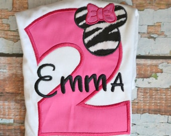 Pink Zebra Minnie Mouse Shirt, Girls Birthday Shirt, Zebra Birthday Shirt
