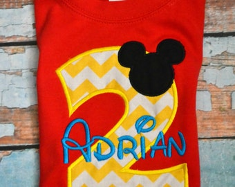 Chevron Mickey Mouse Birthday Shirt, Boys Birthday Shirt, Boys Disney Shirt