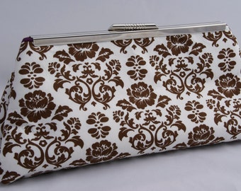 SALE- Ready to Ship Clutch Handbag in Brown Damask