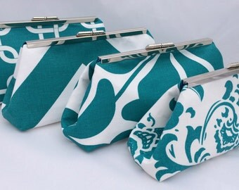 Teal Bridesmaids Gift Clutch handbag- Design your own as gifts for bridesmaids in teal turquoise or other colors