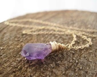 Rough Cut Amethyst Pendant - Raw Amethyst Necklace- Purple Amethyst Necklace - February Birthstone-  Amethyst Drop
