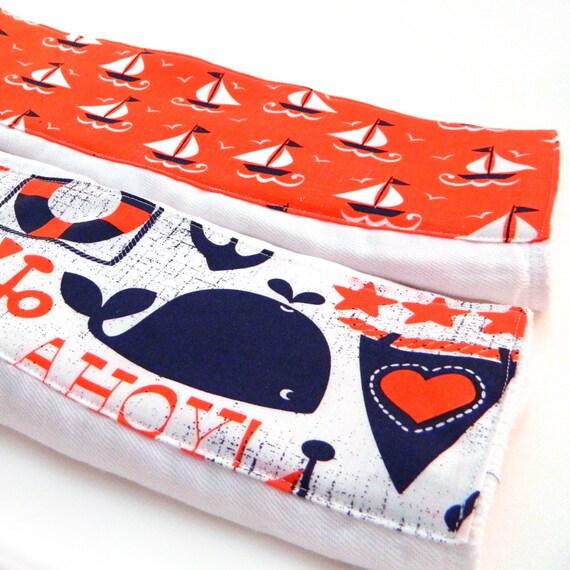 Burp Cloths -Sailboat and Whale - Orange & Navy - set of 2 - Nautical Burp Cloth // Cotton Burp Cloth / Diaper Burp Cloth / Whale Burp Cloth