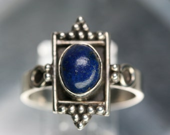 Sterling and  Blue Stone Ring - Vintage