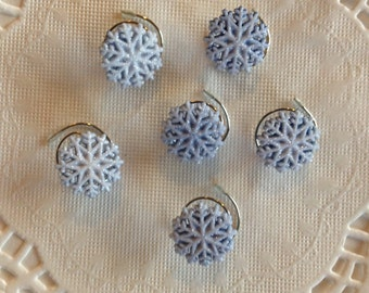 Frozen Ice Blue Snowflake Hair Swirls in Glitter