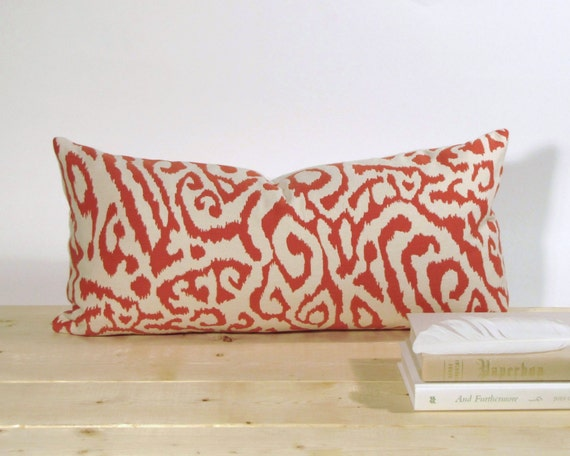 Orange Animal Print Ikat Pillow CoverOrange Animal Print