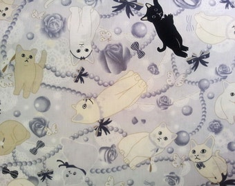 2501C - Lovely Cat Fabric with Jewelry, Rose Flower, Butterfly and Bow Tie Prints in Light Gray , Cute Animal Fabric