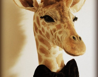 Faux-taxidermy fabric  wall-mounted giraffe