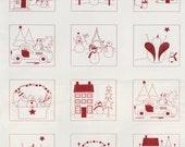 Winter Wonderland Redwork Cotton Quilt Fabric Panel