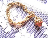 Vintage BraceletHeavy  Goldtone Chain and Ball Drop with Coral color Stones