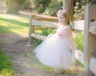 Ivory/Light Pink Flower Girl Tutu Dress with Flower Sash
