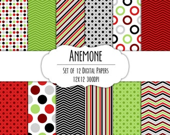Anemone Digital Scrapbook Paper 12x12 Pack - Set of 12 - Polka Dots, Chevron, Stripes - Instant Download - Item# 8074