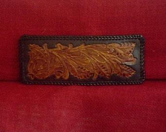Handmade Leather Wallet Southwestern Desert Flowers in Black and Brown