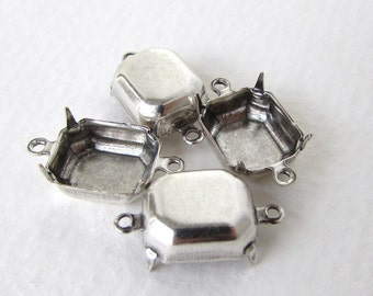 Prong Setting Antiqued Silver Ox Octagon Rhinestone Closed Back 2 Ring Connector 12x10mm set0292 (6)