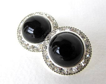 Vintage Glass Rhinestone Buttons Black Cabochon Silver Shank Czech 21mm but0227 (2)