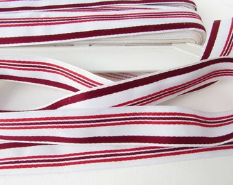 Vintage French Ribbon Striped White Red Woven Cotton Rayon Trim Millinery France 15/16 inch rib0163 (1 yard)