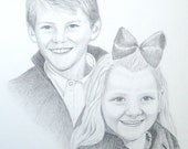 Portrait Sketch Drawing in Pencil 2 subjects - ORIGINAL ART created from photos, 11 x 14 mat included