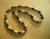 Necklace Unachite Gemstones with Wood and Copper Beads 20 Inches