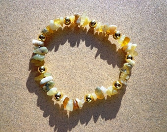 Bracelet Yellow Opal Gemstone Chips with Gold Plated Metal Beads on Elastic Cord in 4 Sizes