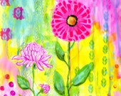 Whimsical Flowers Art Print, 8x10, Pink flowers, Yellow, Light Blue, Green, Lavender, Mothers Day, Baby Girls Room