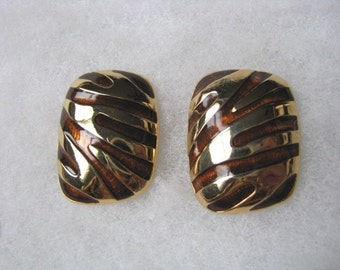 Bold gold & brown striped vintage post back earrings