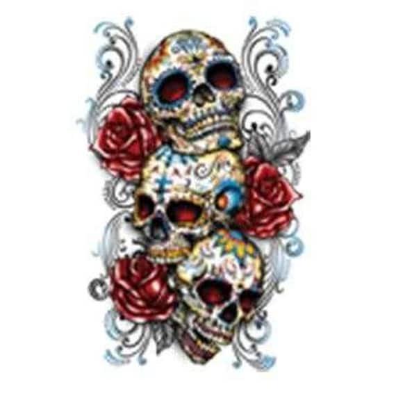 dia de los muertos day of the dead 3 painted sugar skulls roses men size t shirt mexican halloween - Mexican Halloween Skulls