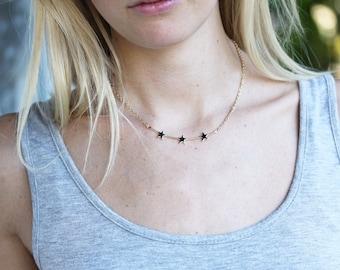 Three Star Bar Necklace