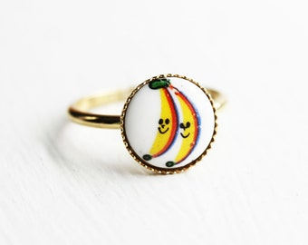 Banana Ring, Gold Banana Ring, Food Ring, Cabochon Ring, Round Gold Ring, Funny Ring, Food Jewelry, Cartoon Ring, Painted Ring, Size 6 Ring
