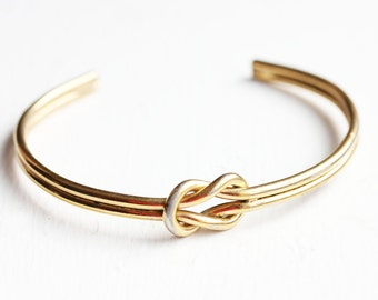 Knot Cuff Bracelet, Knot Bracelet, Love Knot Bracelet, Bridesmaid Bracelet, Gold Knot Bracelet, Gold Cuff Bracelet, Gold Cuff, Knot Cuff