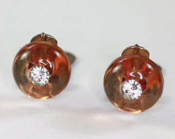 Rhinestone Apple Juice Lucite Earrings Shoe Button Clip On Style Vintage