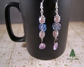 """Lilac Crystal and Sea Glass Earrings   """"Spring Garden"""""""