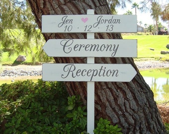 CeReMoNy SiGn - ReCePTion SiGn - EnCHanTinG Style - DiReCTioNaL WeDDiNg SiGnS - Custom Wedding SIGNS - 4ft Stake - Distressed Ivory