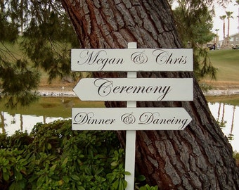 DiNNeR and DanCing SiGn - Ceremony Sign - Names Sign - ClaSSic STyLe LeTTeRiNg - Custom DiReCTioNaL SiGnS - 4ft Stake - Distressed Ivory