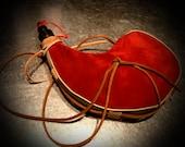 Ruby Red Suede Bota Wine Bag / Wineskin by Bombyx.