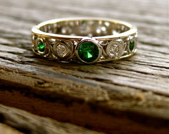 Tsavorite & Diamond Wedding Ring in 14K White Gold and 14K Yellow Gold with Scrolls Size 4