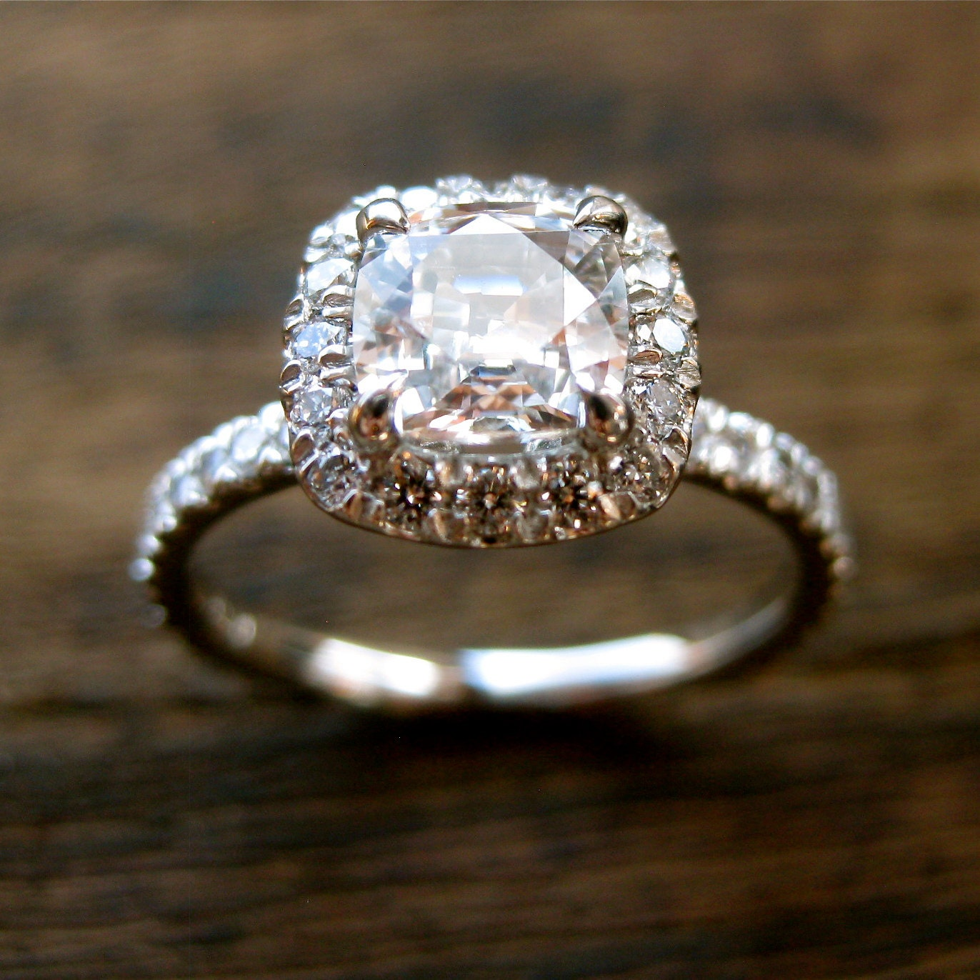Natural White Sapphire Engagement Ring in Platinum with