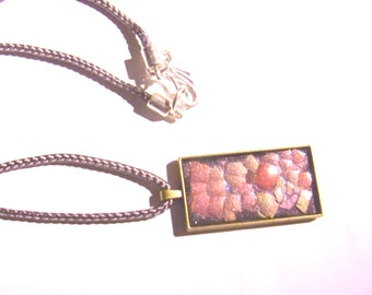 Handcrafted  Egg Shell pendant in metallic pinks