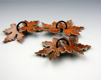 Enameled Small Maple Leaves / Autumn Enamel  / Made to Order