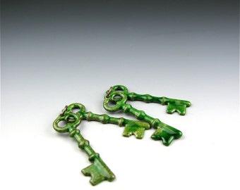 Enameled Keys  / Peacock Green Enamel  / Made to order