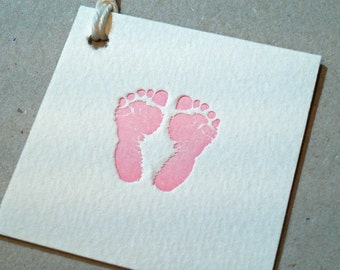 Baby Feet Tags Letterpress Printed on Cotton Squares - 4 pack