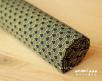 Japanese Cotton Fabric-Traditional Zen Style Golden and Black Ocean Waves (Fat Quarter)