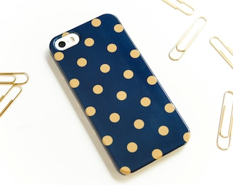 Preppy iPhone 7 Case Navy And Gold Polka Dot iPhone SE Case, Polkadot iPhone 6S, Dots iPhone 7 Plus, iPhone 6S Plus Case