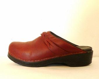 Braided Leather Clogs Leather Shoes Soft Sole Clogs Oxblood Platform Sandals LL Bean Slides, Mules Danish Dansko-style Work Shoes sale