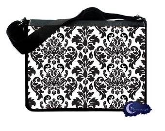 Black and White Damask Messenger & Laptop Bag