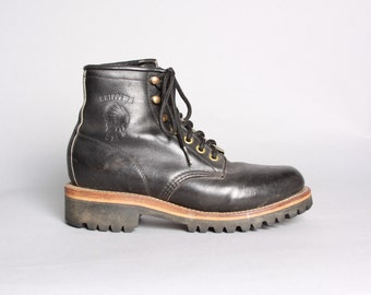 80s CHIPPEWA Work BOOTS / Black Leather Lace Up Boots, 6.5