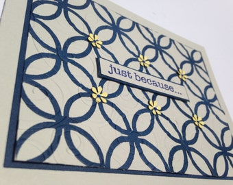 "Handmade Stampin Up ""just because..."" Card: Gray, Midnight Blue"