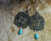 Free USA Shipping Black Shabby Patina Filigree Turquoise Gemstone Sterling Silver Earwire